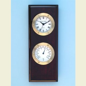Engravable Piano Finish Clock and Thermometer Presentation Plaque