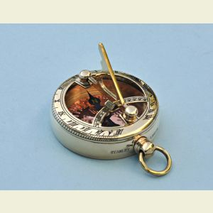 Engravable Brass Pocket Sundial Compass with Copper Compass Rose