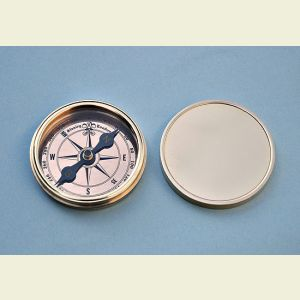 Engravable Polished Brass Desk Compass with Removable Lid