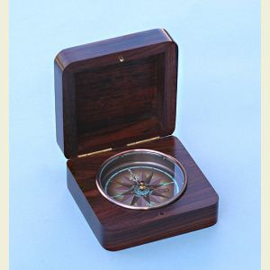 Rosewood Captain's Desk Compass