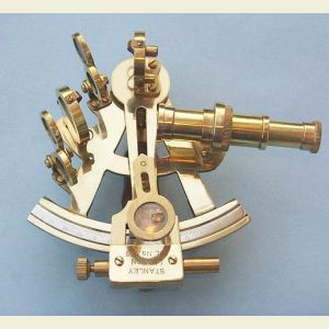 Polished 4-inch Brass Sextant with Leather Case