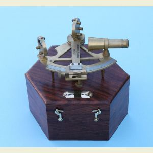 Engravable Brass Sounding Sextant with Hardwood Case