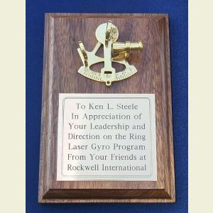 Small Walnut Presentation Plaque with Brass Sextant