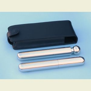 Stainless Steel Single Cigar Holder and Flask Combination