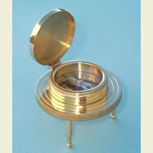 Engravable Large 3-Leg Brass Desk Compass