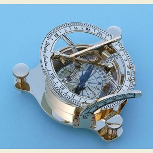 Engravable Polished Brass Sundial Compass with Wood Case
