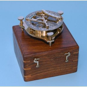 Brass Sundial Compass with Wood Case