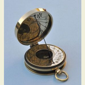 Engravable Polished Pocket Sundial Compass with Cord Gnomon