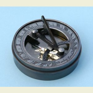 Engravable Pocket Sundial with Antique Patina