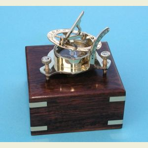 Small Brass Sundial Compass with Hardwood Case