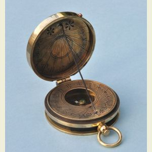 Engravable Antique Brass Pocket Sundial Compass