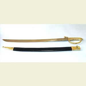Naval Sword with Leather Scabbard