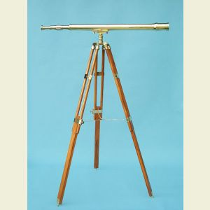 Engravable 44-inch Harbormaster Polished Brass Telescope on Teak Tripod