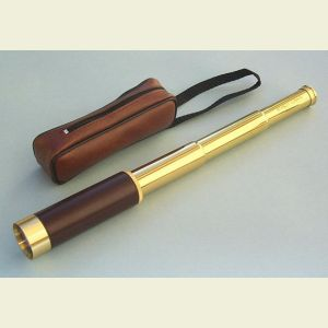 Engravable 25x30 Leather-Sheathed Brass Pocket Telescope