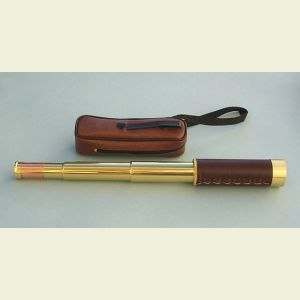 Engravable 10-30x30 Zoom Leather-Sheathed Brass Pocket Telescope