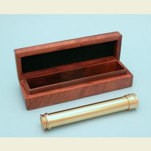 Engravable 9-1/2 inch Brass Pocket Telescope with Premium Hardwood Case