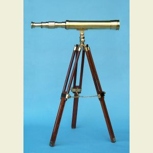 Engravable 19-inch Desktop Brass Harbormaster Telescope on Hardwood Tripod