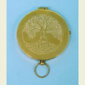 Antique Large Brass Pocket Compass (Tree)