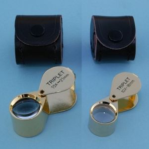 Triplet Magnifier and Eye Loupe with Leather Case