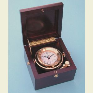 Engravable Weems and Plath Solid Brass Gimbaled Boxed Clock