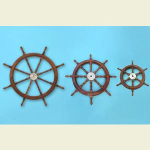 Wooden Ship's Wheel with Brass Hub