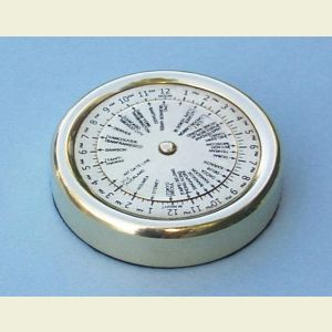 Small Brass World Time Zone Calculator Paperweight
