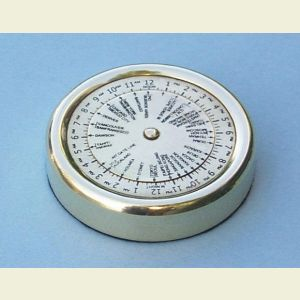 Brass World Time Zone Calculator Paperweight