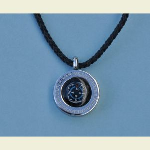 Greek Compass Pendant with Braided Leather Necklace