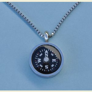 Thin Bezel Compass Pendant with Chain