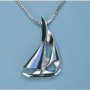 Small Sailboat Pendant with Chain