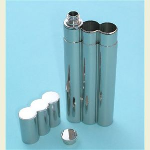 Stainless Steel Flask and Double Cigar Holder