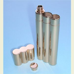 Gold Plated Stainless Steel Flask and Double Cigar Holder