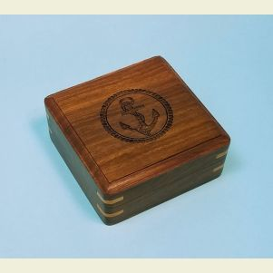 Engraved Large Hardwood Storage Case (Anchor)