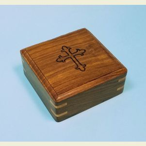 Engraved Large Hardwood Storage Case (Cross)
