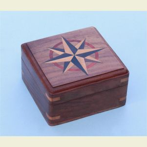 Large Hardwood Case with Hand Inlaid Compass Rose