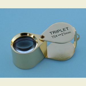 15x Triplet Magnifier and Eye Loupe with Leather Case