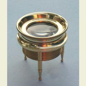 Engravable Small 3-Leg Brass Desk Magnifier