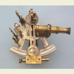 Antique Patina 4-inch Brass Sextant with Leather Case