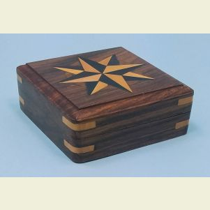 Small Hardwood Case with Hand Inlaid Compass Rose