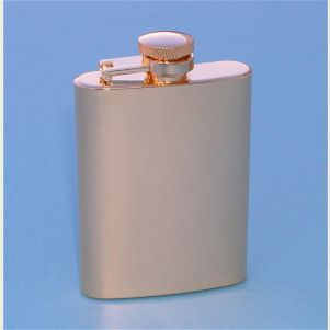 Gold Plated Stainless Steel 3.5 ounce Hip Flask